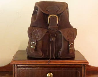 Medium Size Backpack In Soft Brown Leather With Brass Hardware- VGC
