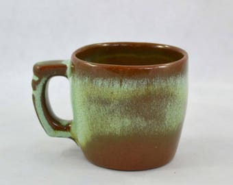 Vintage Frankoma Plainsman Green Flat Cup, Prairie Green Cup, Lime Green Center With A Brown Edge