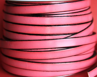 """MADE in EUROPE 24"""" flat leather cord, 10mm leather cord, fucsia leather cord (221/10/19)"""
