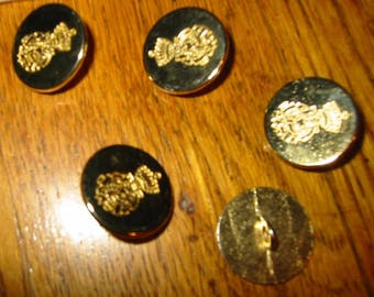 SET OF 5 METAL BUTTONS GOLD VERY RARE