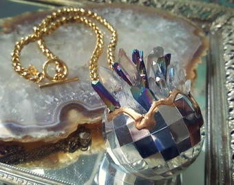 RESERVED ~ Custom disco ball exploding crystal necklace