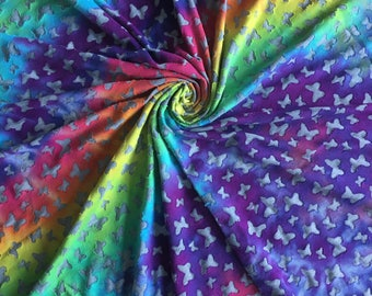 Midnight Rainbow Burnout Butterflies Hand Dyed Fabric