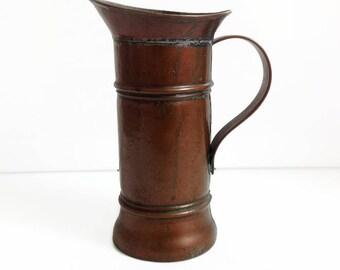 Vintage français cuivre pichet, cruche en cuivre antique, maison de campagne français, cuivre rustique