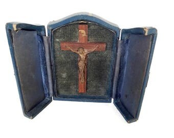 antique religious tryptich, travel altar with crucifix , personal shrine, christian tryptich