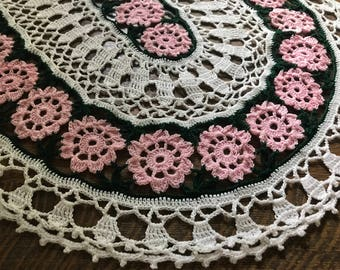 Vintage PINK Rosette Doily~Crocheted Oval~Lavish Roses~Hand-Made Floral Table Decoration~Centerpiece Linen~Crochet~Gorgeous~Perfect