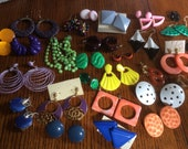 Lot of retro earrings 27 pairs colorful bright mod chunky post hook clip 60s 70s 80s funky costume plastic metal enamel craft junk jewellery