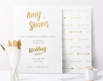 Cupid Gold Foil Wedding Invitation