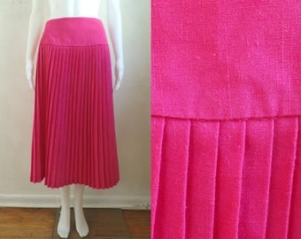 "40%offAug15-17 bright pink pleated skirt size large/xl 16, 32"" waist, 80s woven rayon minimalist wrap skirt pressed knife pleats 1980s"