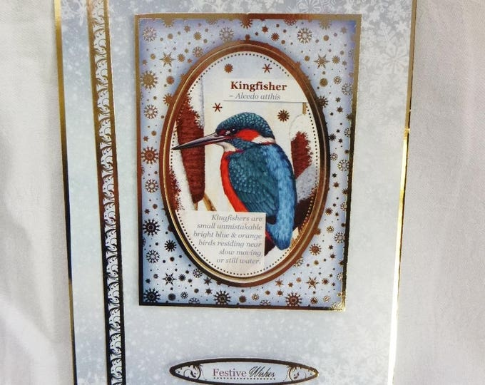 Kingfisher Christmas Card, Greeting Card, Winter Scene, Male or Female, Any Age, Mum, Dad, Sister, Brother, Niece, Nephew, Friend