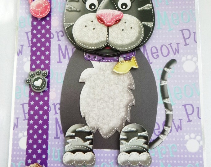 To My Cat, Novelty Card, Animal Card, Cat 3 D Decoupage Card, Birthday Card, Black and Grey Cat,