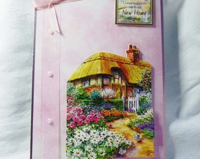 Country Cottage New Home Card, Congratulations Card, Greeting Card, 3D Decoupage Card, Thatched Cottage