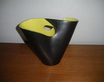Vintage ceramic vase 50 ELCHINGER / french ceramic ceramic /vintage / 1950's / vintage vase / Beatnik/black vase