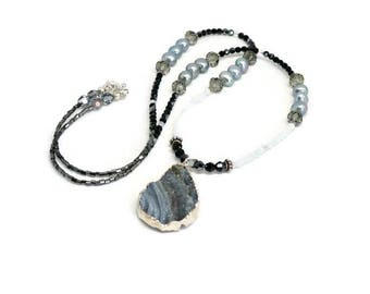 Crystal, Mystic Quartz and Freshwater Pearl Necklace with Druzy Pendant, Quartz Bead Necklace, Pearl Bead Necklace, Black and White Necklace