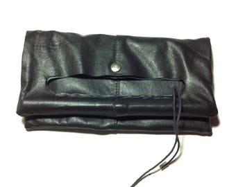 Square black leather clutch bag