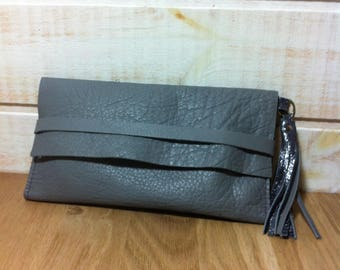 Gunmetal grey leather clutch reversible