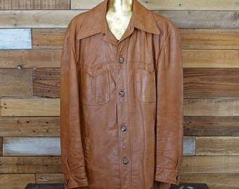 Vintage men's leather coat - Jeno de Paris - Montreal, Canada - Medium M