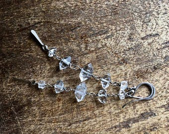 Herkimer Diamond Dangle Cluster Garland earrings a71 . raw crystal . clear crystals earrings . sterling silver . plain crystals . oxidized