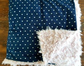 Heart Denim Fur Blanket