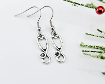 Doctor Gift Nurse Gift Medical Student Gift Stethoscope Earrings Silver Stethoscope Charm Earrings Stethoscope Jewelry Christmas Gift