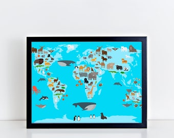 ANIMAL MAP Prints Map Art Print Map Prints World Map of the World Animal Map Print Map Kids Poster Home Decor Nursery Watercolor Map