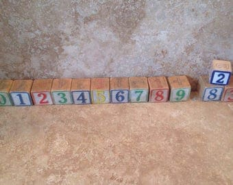Set of 13 number blocks