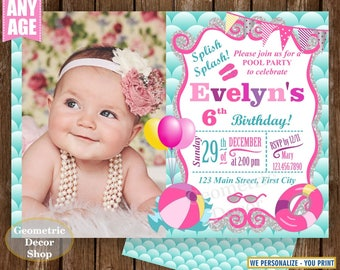 POOL PARTY Invitation, Pool Party Pool Bash Birthday Invitation Pink Birthday Invite Girl Swimming Photo Aqua Teal Pink Photograph DPMER15/5