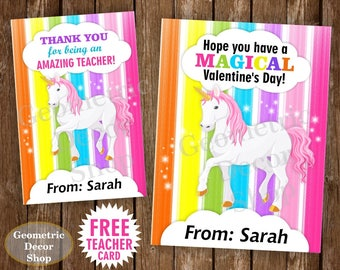 Unicorn / Valentine / Card / Rainbow / Valentines / Valentine's / Day / pink / purple / teal / Personalized / Tags / teacher / kids /VCard14