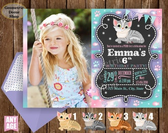Kitten Birthday Invitation, Cat Birthday Invitation, Pet Birthday Invite, Kitty Birthday Invite Photo Girl Photograph Printable BDCat2