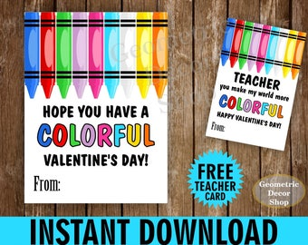 INSTANT DOWNLOAD / Colorful / Crayons / Crayon / Pink / Teal / Girl / Boy / Valentine / Card / Valentines / Valentine's / teacher /Card67_ID