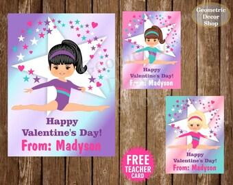 Gymnastic / Gymnastics / Valentine / Card / Valentines / Pink / Purple / Teal / Valentine's / Day / Tags / teacher / Kids / VCard86