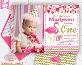 Pink Flamingo Birthday Invitation Girl Gold Invitations Luau Invite Hawaiian Luau Party Invitation Tropical Girls Photo Photograph BDF11