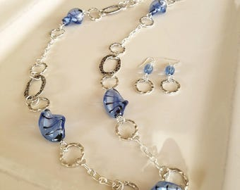 Long blue glass bead and silver link necklace and earring set
