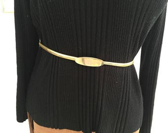 60's Vintage  Gold Tone Elastic With Plain Buckle