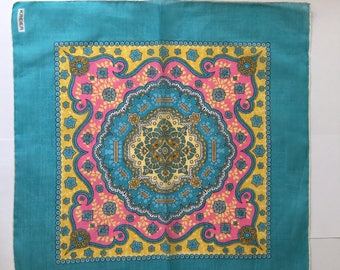 Kreier 100% Cotton Handkerchief - Beautiful Design in Turquoise, Pink and Yellow - New and Unused From Vintage 1970 Stock
