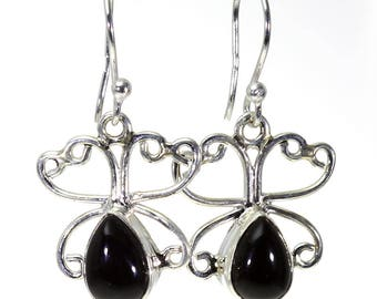 Black Onyx Earrings, 925 Sterling Silver, Unique only 1 piece available! color black, weight 4.08g, #15784