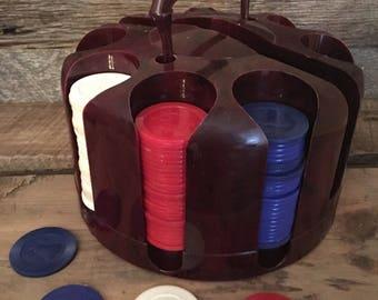 Vintage Poker Chip Carousel, Poker Chip Case, Vintage Poker Chips, Father's Day Gift