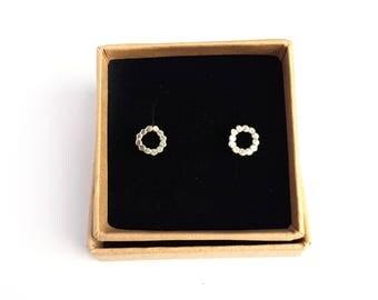 Circle Stud Earrings - Dainty Simple Textured