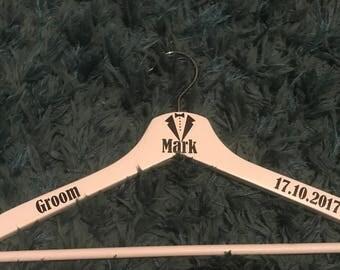 Personalised wooden groomsmen hanger