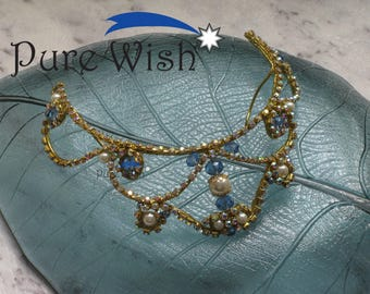 Gold, cornflower blue and pearl tiara - Frame Style T_13