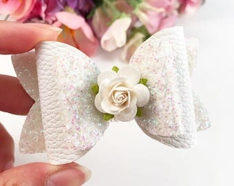 White Rose Bow, White Tinsel Bow, Faux Leather Bow, Floral Bow, Baby Headband, Newborn Headband, Hair Bow