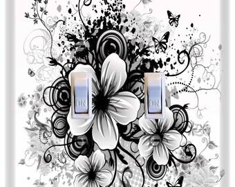 Flowers Butterflies Black White Light Switch Plate Cover Girls Nursery Decor Pattern Print