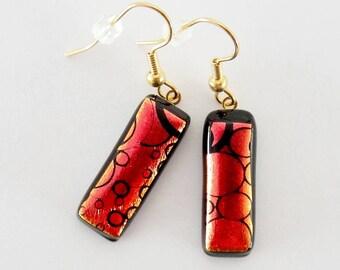 Dichroic Glass Copper with Black Design Earrings, Dichroic Fused Glass Wire Earrings, Copper with Black Design Dangle Earrings