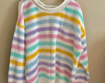 Vintage 90s Pastel Stripe Chunky Sweater
