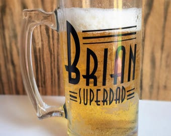 Super Dad beer mug // Personalized Beer mug // Custom beer mug // Gift for Dad // beer mug with name