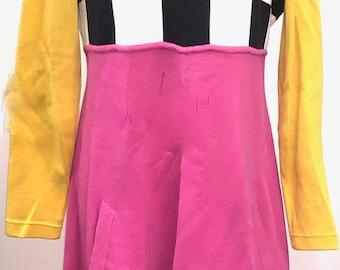 Black White Checkerboard Hot Pink Yellow Black Pop Art Bill Blass Vintage Dress 1960's