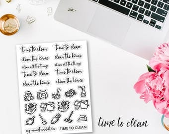 Time To Clean Foiled Planner Stickers