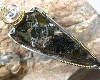 Russian Pallasite Meteorite Pendant (Seymchan) in Sterling Silver & 14k Gold Filled Wire