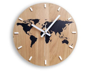 Map wall clock etsy wall clock wood clock large wall clock gift wall decor unique wall oak clocks world map gumiabroncs Image collections