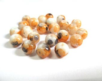 20 speckled orange and black 6mm white glass beads