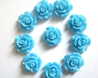10 cabochons blue resin flower 10x4mm
